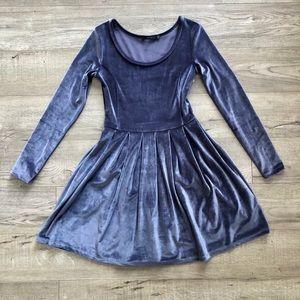 Talula Lambeth Long Sleeve Velour/Velvet Dress